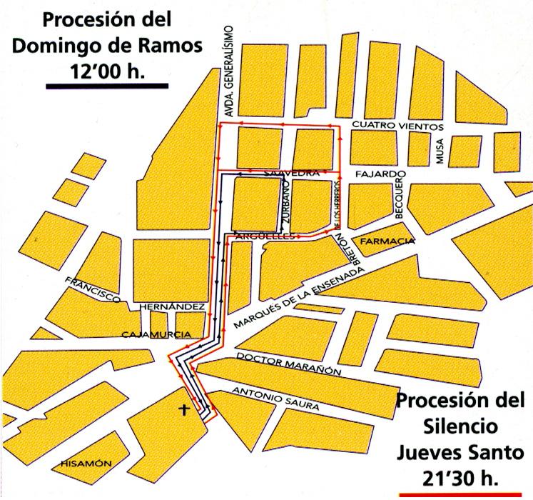 Itinerario de las procesiones